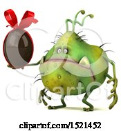 Clipart Of A 3d Green Monster Or Germ Character Holding A Chocolate Egg On A White Background Royalty Free Illustration