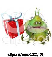 Clipart Of A 3d Green Monster Or Germ Character Holding A Gift On A White Background Royalty Free Illustration