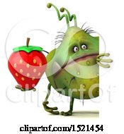 Clipart Of A 3d Green Monster Or Germ Character Holding A Strawberry On A White Background Royalty Free Illustration