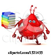 Clipart Of A 3d Red Monster Or Germ Character Holding Books On A White Background Royalty Free Illustration
