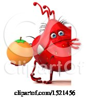 Clipart Of A 3d Red Monster Or Germ Character Holding An Orange On A White Background Royalty Free Illustration