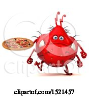 Clipart Of A 3d Red Monster Or Germ Character Holding A Pizza On A White Background Royalty Free Illustration