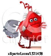 Clipart Of A 3d Red Monster Or Germ Character Holding A Euro On A White Background Royalty Free Illustration