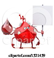 Clipart Of A 3d Red Monster Or Germ Character Holding A Blood Drop On A White Background Royalty Free Illustration