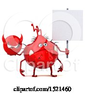Clipart Of A 3d Red Monster Or Germ Character Holding A Devil On A White Background Royalty Free Illustration