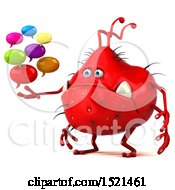 Clipart Of A 3d Red Monster Or Germ Character Holding Messages On A White Background Royalty Free Illustration