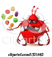 Clipart Of A 3d Red Monster Or Germ Character Holding Produce On A White Background Royalty Free Illustration