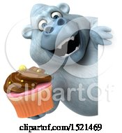 Poster, Art Print Of 3d White Monkey Yeti Holding A Cupcake On A White Background
