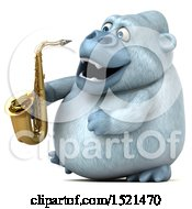 Poster, Art Print Of 3d White Monkey Yeti Holding A Saxophone On A White Background