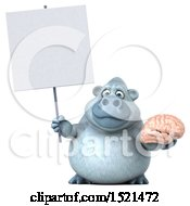 Poster, Art Print Of 3d White Monkey Yeti Holding A Brain On A White Background