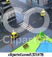 Clipart Of A 3d City Road Intersection With Cars Royalty Free Illustration by Julos