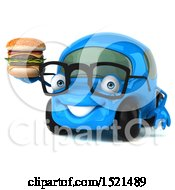 Poster, Art Print Of 3d Blue Car Holding A Burger On A White Background