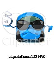 Poster, Art Print Of 3d Blue Car Holding A Dollar Sign On A White Background