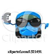 Poster, Art Print Of 3d Blue Car Holding A Euro On A White Background