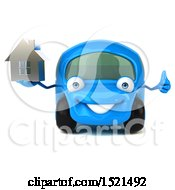Poster, Art Print Of 3d Blue Car Holding A House On A White Background