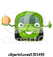 Poster, Art Print Of 3d Green Car Holding An Orange On A White Background