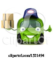 Poster, Art Print Of 3d Green Mechanic Car Holding Boxes On A White Background