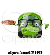 Poster, Art Print Of 3d Green Car Holding A Pizza On A White Background