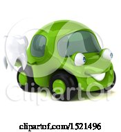 Poster, Art Print Of 3d Green Car Holding A Tooth On A White Background