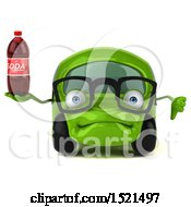 Poster, Art Print Of 3d Green Car Holding A Soda On A White Background
