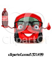Clipart Of A 3d Red Car Holding A Soda On A White Background Royalty Free Illustration by Julos