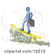 Successful Blue Businessman Person Carrying A Briefcase And Standing Proud On A Yellow Surfboard While Surfing On Money