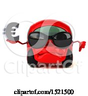 Clipart Of A 3d Red Car Holding A Euro On A White Background Royalty Free Illustration by Julos
