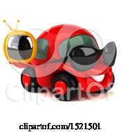 Clipart Of A 3d Red Car Holding A Tv On A White Background Royalty Free Illustration by Julos
