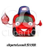 Poster, Art Print Of 3d Red Mechanic Car Holding A Blood Drop On A White Background