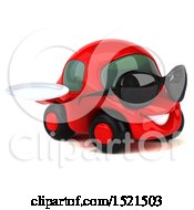 Clipart Of A 3d Red Car Holding A Plate On A White Background Royalty Free Illustration by Julos