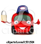 Clipart Of A 3d Red Mechanic Car Holding A Padlock On A White Background Royalty Free Illustration by Julos