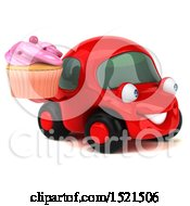 Clipart Of A 3d Red Car Holding A Cupcake On A White Background Royalty Free Illustration by Julos