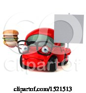 Clipart Of A 3d Red Car Holding A Burger On A White Background Royalty Free Illustration by Julos
