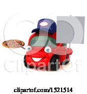 Clipart Of A 3d Red Mechanic Car Holding A Pizza On A White Background Royalty Free Illustration by Julos