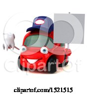 Clipart Of A 3d Red Mechanic Car Holding A Tooth On A White Background Royalty Free Illustration by Julos