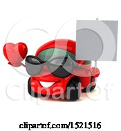 Clipart Of A 3d Red Car Holding A Heart On A White Background Royalty Free Illustration by Julos