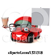 Clipart Of A 3d Red Car Holding A Beer On A White Background Royalty Free Illustration by Julos