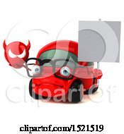 Clipart Of A 3d Red Car Holding A Devil On A White Background Royalty Free Illustration by Julos