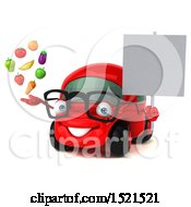 Clipart Of A 3d Red Car Holding Produce On A White Background Royalty Free Illustration by Julos