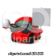 Clipart Of A 3d Red Car Holding A Golf Ball On A White Background Royalty Free Illustration by Julos