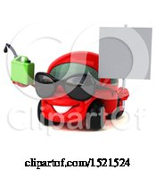 Clipart Of A 3d Red Car Holding A Gas Can On A White Background Royalty Free Illustration by Julos