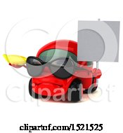 Clipart Of A 3d Red Car Holding A Banana On A White Background Royalty Free Illustration by Julos