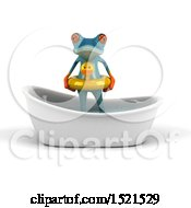 Clipart Of A 3d Blue Frog In A Bath Tub On A White Background Royalty Free Illustration