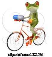 3d Green Frog Riding A Bike And Holding A Pill On A White Background