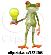 Poster, Art Print Of 3d Green Frog Holding A Light Bulb On A White Background