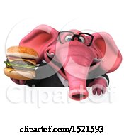 3d Pink Business Elephant Holding A Burger On A White Background