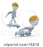 Two White Figures Skateboarding And Wearing Yellow Helmets