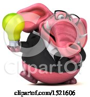 3d Pink Business Elephant Holding A Light Bulb On A White Background