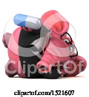 3d Pink Business Elephant Holding A Pill On A White Background