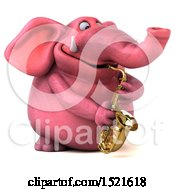 3d Pink Elephant Playing A Saxophone On A White Background